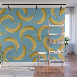 Bananas Pattern - turquoise Wall Mural