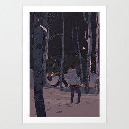 Kitsune at Night Art Print
