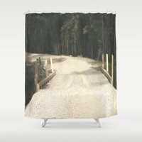 wooden Shower Curtains featuring Wooden Bridge by Chris' Landscape Images & Designs