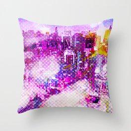 Retro Comic City Throw Pillow