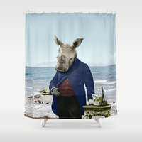 ruben Shower Curtains featuring Mr. Rhino's Day at the Beach by Peter Gross