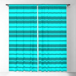 Dark Cyan & Lighter Cyan Stripes/Lines Pattern Blackout Curtain