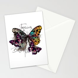 Fashion art print with colorful tropical butterly Stationery Cards
