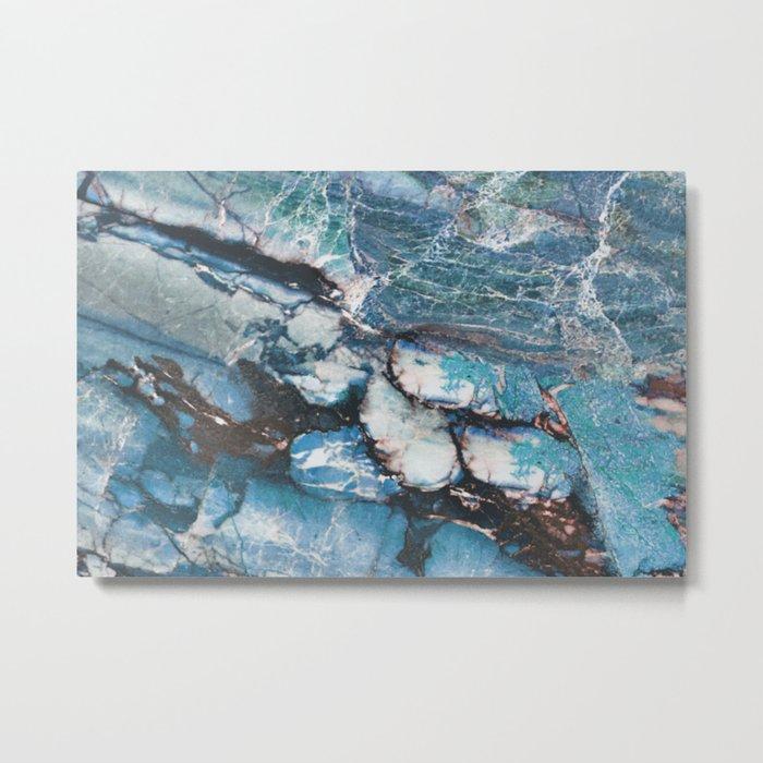Turquoise Blue Marble Metal Print