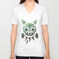 mononoke V-neck T-shirts featuring Mononoke by Kiana