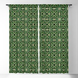 Art Deco Floral Tiles in Emerald Green and Faux Gold Blackout Curtain