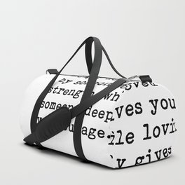 Being deeply loved - Lao Tzu Quote Duffle Bag