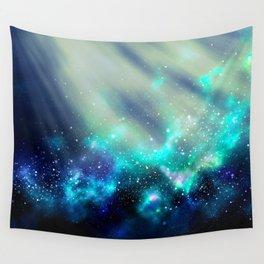 Abstract Nebula #3: Light Green Wall Tapestry