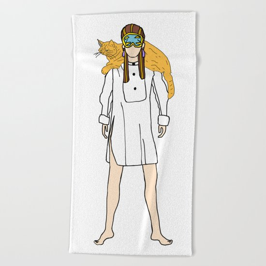 Holly and Cat Beach Towel