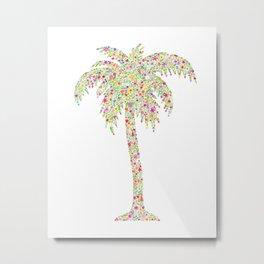Palm Tree Floral Watercolor Metal Print
