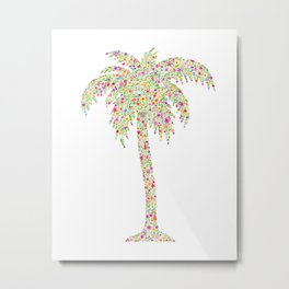 Palm Tree Floral Watercolor Metal Print