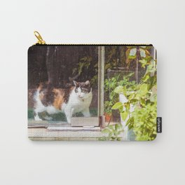 Cat Behind Glass Door Carry-All Pouch