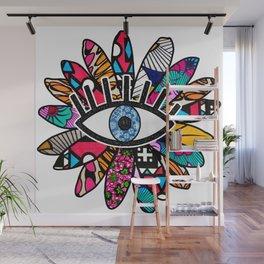 Greek Evil Eye Groovy Flower Wall Mural
