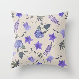 seamless   pattern of blue flowers . Endless texture Throw Pillow