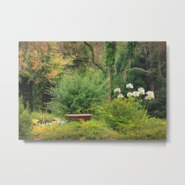 The Bird Bath and Ivy Tree Metal Print