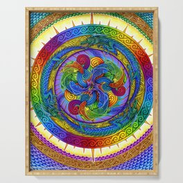 Psychedelic Dragons Rainbow Spirals Mandala Serving Tray