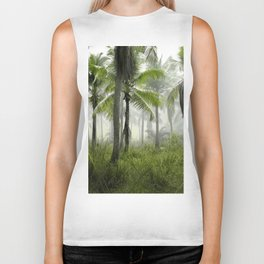 Foggy Palm Forest Biker Tank