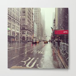 nyc street rain Metal Print