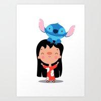 lilo and stitch Art Prints featuring Lilo & Stitch by mruburu