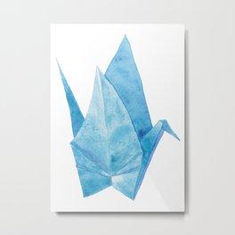 Blue Origami Paper Crane (watercolour) Metal Print