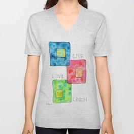 LIVE LOVE LAUGH geometric pattern illustration Watercolor Painting minimalism typography Unisex V-Neck
