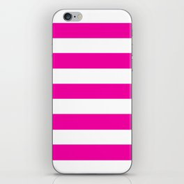 Hollywood cerise - solid color - white stripes pattern iPhone Skin