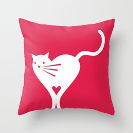 Heart cat Throw Pillow