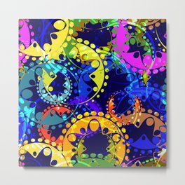 Texture of bright colorful and blue gears and laurel wreaths in kaleidoscope style on a dark blue ba Metal Print