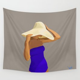 At The Beach: Blue Suit Wall Tapestry