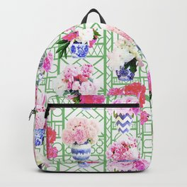 Ginger Jar Peonies on Green Trellis Backpack