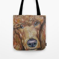 poodle Tote Bags featuring Poodle by Melissa Smith Pet Art