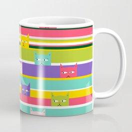 Colorful Peeking Cats on stripes Coffee Mug