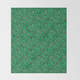 Greenery Green and Beige Leopard Spotted Animal Print Pattern Throw Blanket
