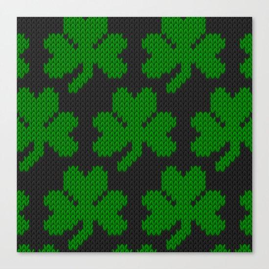 Shamrock pattern - black, green Canvas Print