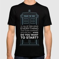 Doctor Who - TARDIS Where Do You Want to Start Mens Fitted Tee MEDIUM Black