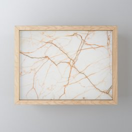 White Gold Marble Framed Mini Art Print