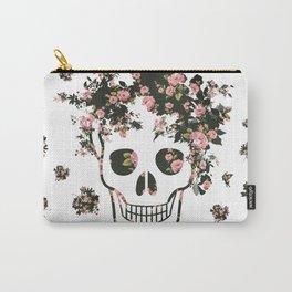 Flower Skull, Floral Skull, Pink Flowers on Human Skull Carry-All Pouch