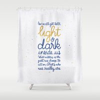 snape Shower Curtains featuring Light and dark inside us by Earthlightened