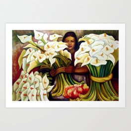 1938 Classical Masterpiece 'Alcatraces Flower Seller' by Diego Rivera Art Print