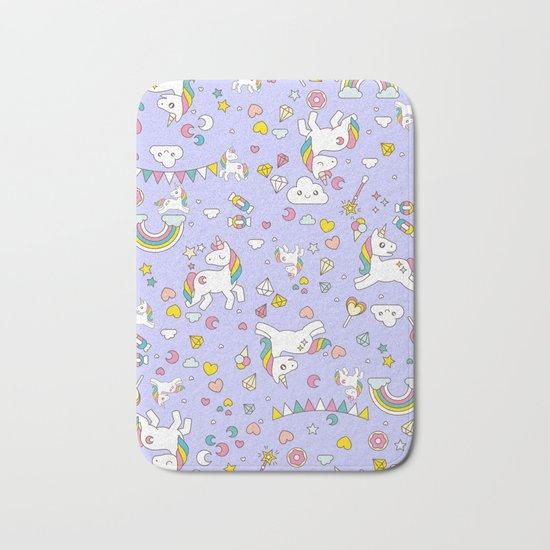 Unicorn Lilac Pattern Bath Mat