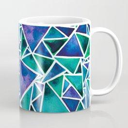 Geometric Turquoise and Blue Triangles Coffee Mug