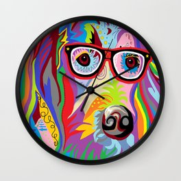 Smart Retriever Hipster with Glasses Wall Clock