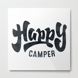 HAPPY CAMPER Black and White Retro Metal Print