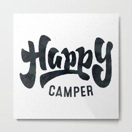 HAPPY CAMPER Black and White Retro Metal Print