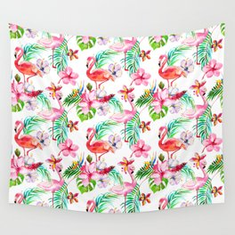 Hand painted blush pink coral watercolor tropical flamingo floral Wall Tapestry