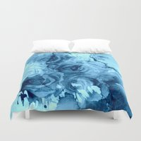 roses Duvet Covers featuring roses underwater by clemm