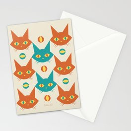 Mid-century Modern Abstract Cat Pattern, Vintage Cats in Orange and Teal Color Stationery Cards