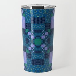 Elegant Geometric High Definition Quilt Lavender Teal Travel Mug