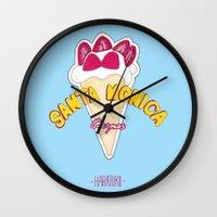 santa monica Wall Clocks featuring santa monica by DSD - Details Studio Design