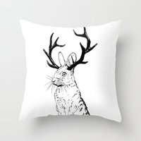 jackalope Throw Pillows featuring Jackalope by JChauvette